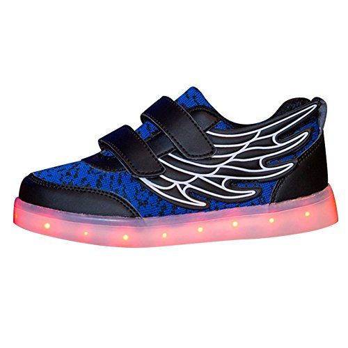 xiaoyang Children Boys Girls USB Charging LED Light Sport Athletic Wings Flashing Sneaker Halloween (Blue 13 M US Little Kid)