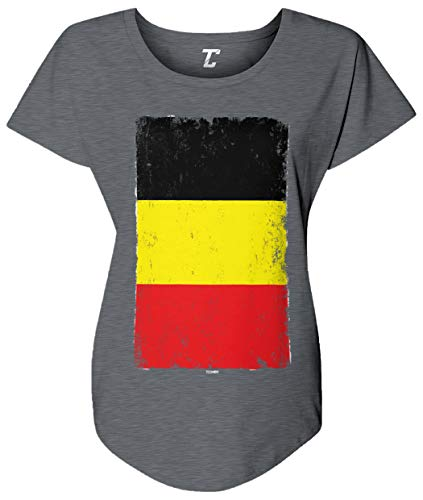 (Tcombo Distressed Belgium Flag - Belgian Women's Dolman (Charcoal, Large))