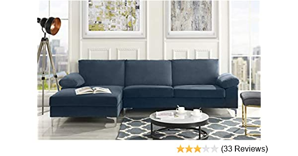 Amazon.com: DIVANO ROMA FURNITURE Modern Large Velvet Fabric ...