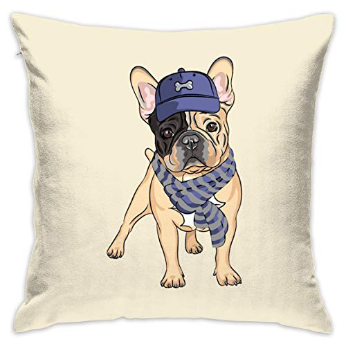 Janvonne 18 X 18 Inch French Bulldog Square Decorative Throw Pillow Cases Cushion Covers for Home, Couch, Sofa, Or Bed, Modern -