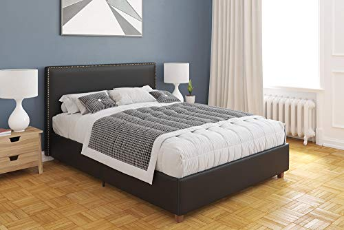 - DHP Levi Upholstered Bed, Black Faux Leather, Full