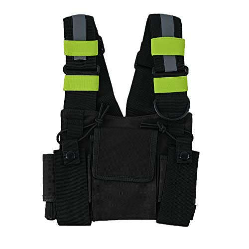 Saigain Radio Rig Chest Harness Bag Holster Holder Work Vest Rig Universal Hands Free for Two Way Radio Walkie Talkie(Rescue Essentials)