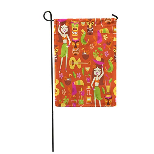 Semtomn Garden Flag 12x18 Inches Print On Two Side Polyester Tiki of 1960S Retro Inspired Cute Hawaiian Luau Party Cocktail Bar Hula Lemon Home Yard Farm Fade Resistant Outdoor House Decor Flag -