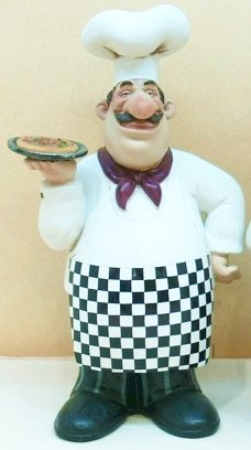 Charmant Fat Chef Kitchen Statue Bistro Italian Cooking Figure Holding Pizza D64138A