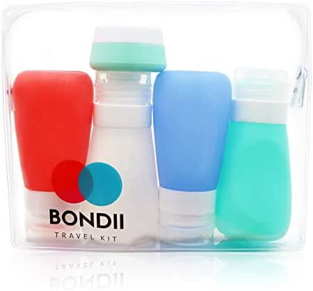 BONDII Silicone Travel Bottles – Leakproof Refillable Travel Containers – Large 3.3 oz TSA Approved Squeezable Travel Tube Set for Shampoo Lotion Soap