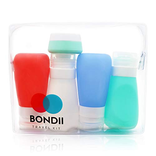 BONDII Silicone Travel Bottles - Leakproof Refillable Travel Containers - Large 3.3 oz TSA Approved Squeezable Travel Tube Set for Shampoo Lotion Soap