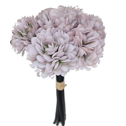 (Lily Garden Silk Chrysanthemum Ball 7 Stems Flower Bouquet (Dusty Purple) )