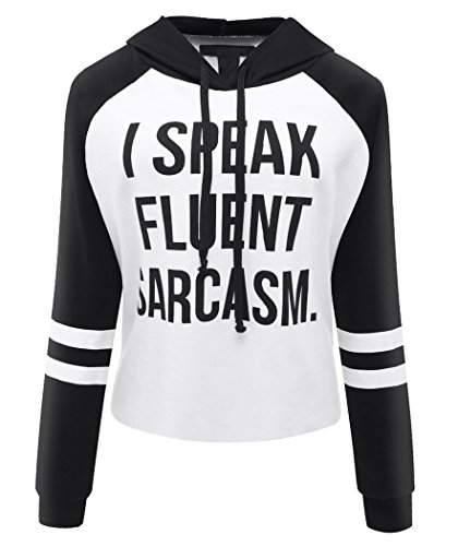 Yibye Women's Striped Long Sleeve Letter Print Hoodie Crop Top Pull Over Sweatshirt (XL, Black) (Hooded Long Sleeve Letter)