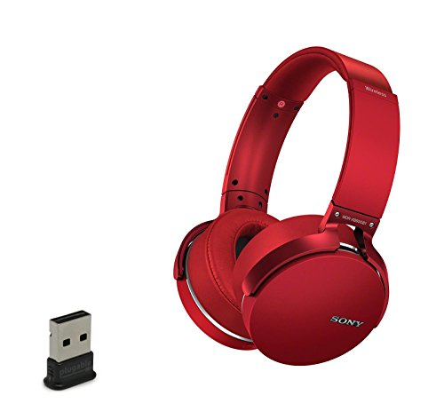 Sony MDRXB950B1 Wireless Bluetooth Over-Ear Headphone Bundle with USB Bluetooth Adapter (Red)
