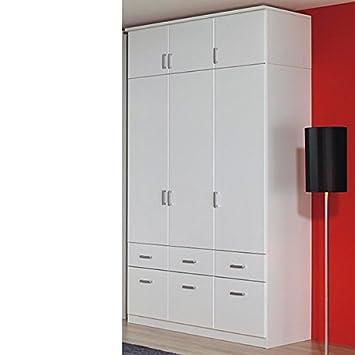 Kleiderschrank Weiss 3 Turen B 136 Cm Mit Aufsatz Schrank