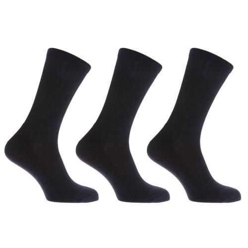 FLOSO® Mens Premium Quality Cotton Rich Cushion Sole Socks (Pack Of 3) (US Shoe 7-12) (Black)
