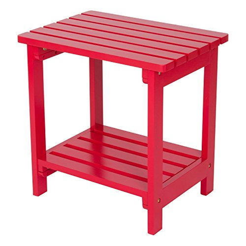 Shine Company Rectangular Side Table, Tomato Red - Cedar Square Patio Table