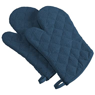DII 100% Cotton, Machine Washable, Heat Resistant, Everyday Kitchen Basic, Terry Oven Mitt, 7 x 13 , Set of 2, Blue