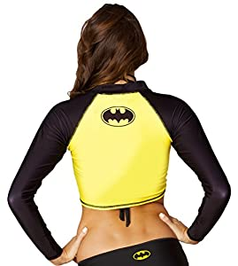 Dc Comic Batman Crop Rash Guard Long Sleeve Shirt Swimwear at Gotham City Store