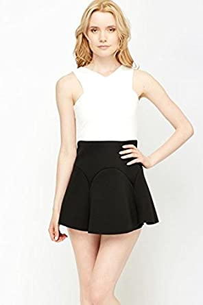 Ex Topshop Womens Black White Sleevless Scuba Scallop Layered Skater Dress at Amazon Womens Clothing store: