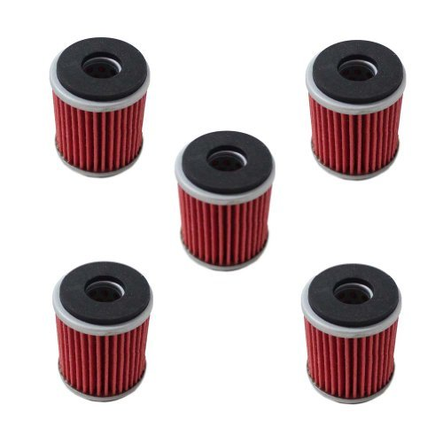 Poweka New Stuff Of 5 Oil Filter Fit For Yamaha YZ250F YBR250 YZ450F WR250F WR450F YFM250R YFZ450X YZ250F Replace HF140  KN140