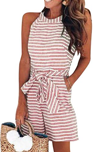 Avanova Women Striped Jumpsuit Sleeveless Short Pants Casual Printed Romper with Pockets (Tag L=US 10-12, 02 Red)