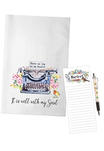 (Bailey & Browne It is Well with My Soul Vintage Typewriter Flour Sack Towel Set | Dish Towel | Note Pad with)