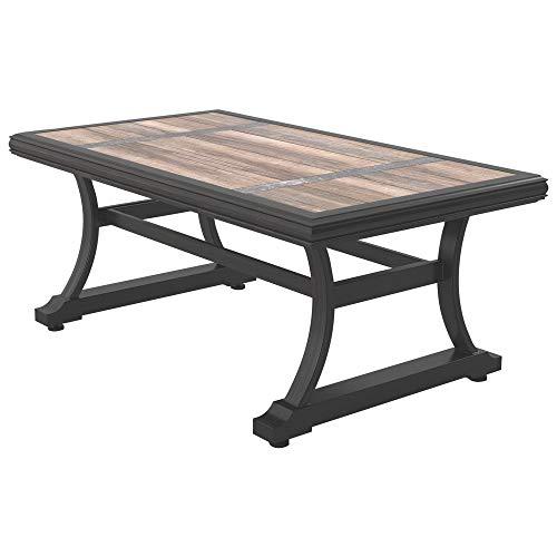 Ashley Furniture Signature Design - Marsh Creek Outdoor Rectangular Cocktail Table - Porcelain Top - Brown