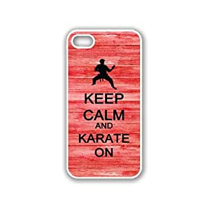 Keep Calm And Karate On - Red Wood - Protective Designer WHITE Case - Fits Apple iPhone 5 / 5S