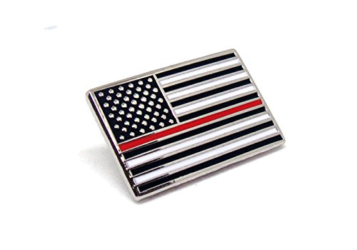 Red Thin Line US Flag - Firefighter USA Proudy Patriotic American Standard Official - Police Lapel Pin Series