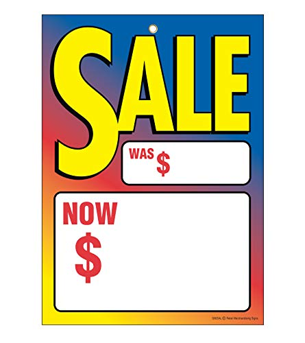 """G60SAL Sale Multi Color was Now - Grommet Reinforced (Brass Ring) Sale Tags - 5"""" x 7"""" (100 Pack) Carpet and Flooring Store Price Cards 10pt Card Stock for Easy Writing"""