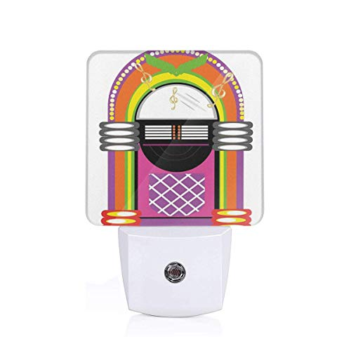 Xuforget Jukebox Cartoon Vivid Ethnic Design Energy Efficient LED Night Light with Auto Dusk to Dawn Sensor for Bedroom ()