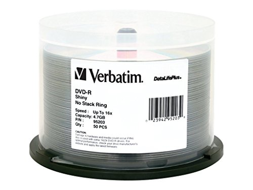Verbatim 4.7GB up to 16x DataLifePlus Shiny Silver Hub Logo Recordable Disc DVD-R (50-Disc Spindle) 95203 by Verbatim