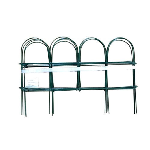 Green Garden Border Folding Fence 10 inch x10 feet (Pkg of 10 sets, Overall length 100 feet) (Privacy Fence Art)