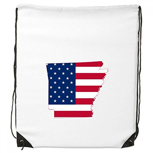 Dalino The United States Of America USA Arkansas Map Stars And Stripes Flag Shape Drawstring Backpack Shopping Sports Bags Gift (Pack Arkansas String)