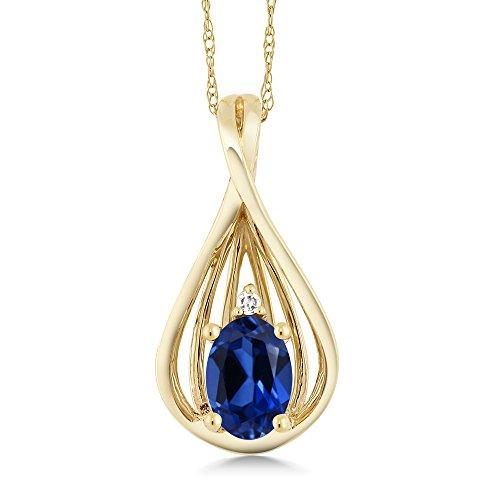 Diamond Blue Sapphire Teardrop Pendant - 7