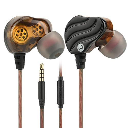 in Ear Earbuds, Kicoeoy Wired Headphones Dual Dynamic Drivers Earphones with Mic and Remote, Stereo Heavy Bass Sport Ear Buds Noise Isolating Headsets for 3.5mm Plug iOS,Android,Computer,PC (Black)