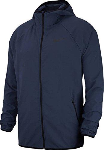 NIKE Men's Flex Stretch Lightweight Full Zip Hooded Windbreaker Jacket Dri-Fit, (4XL, Thunder Blue) - Full Zip Unlined Wind Jacket