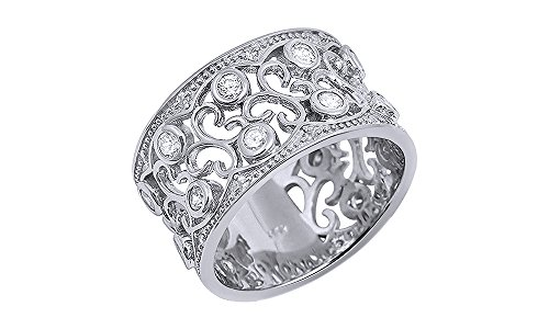 Jewel Zone US Mothers Day Jewelry Gifts White Cubic Zirconia Floral Design Wide Band Ring in 14k White Gold Over Sterling ()
