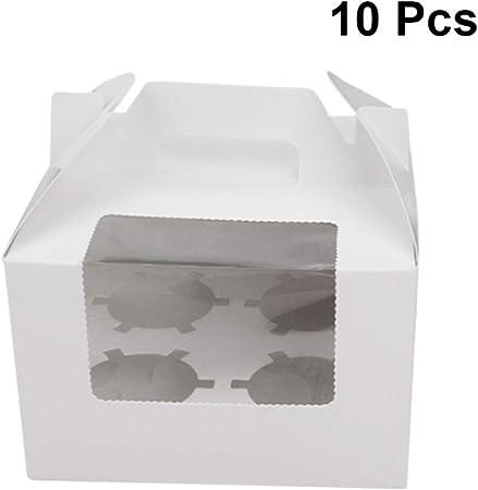 UPKOCH - Caja de papel para cupcakes con asa y ventana para 4 pasteles de postre, 10 unidades (color marrón) blanco: Amazon.es: Hogar
