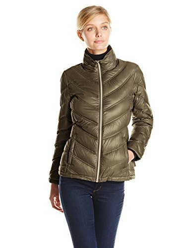 Calvin Klein Women's Lightweight Chevron Packable Jacket, Loden, Large