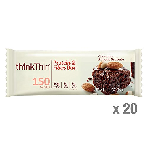 Almond Thins (thinkThin Protein & Fiber Bars, Chocolate Almond Brownie, 1.41 Ounce (20 Count))