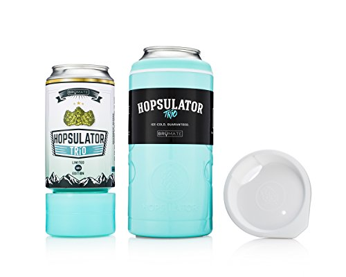 BruMate HT16T Hopsulator Tro 3-in-1 Insulated Pint Glass Can Cooler, 16 oz/12 oz, Tiffany Blue