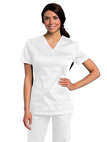 (Landau All Day Women's Modern Fit Y-Neck Scrub Tunic White L)
