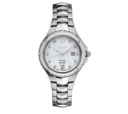 Seiko Women's Courtura Solar Silvertone Watch with Diamond Accents