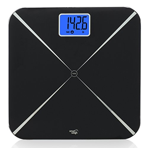 Smart Weigh Digital Body Weight Scale with Baby or Pet Tare Weighing Technology, Bathroom Scale with Large LCD Display and Tempered Glass Platform, 440lbs/200kg Capacity (Black) by Smart Weigh