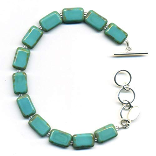 Beaded Bracelet in Turquoise, Colorful Glass Tiles, Sterling Silver Adjustable Length Toggle Clasp, One Size Fits Most - Glass Beaded Toggle