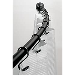 "InterDesign Wall Mounted Curved Bathroom Shower Curtain Rod – Hardware Included - Adjustable 41""- 72"", Matte Black"