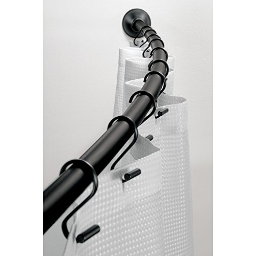 "(InterDesign Wall Mounted Curved Bathroom Shower Curtain Rod – Hardware Included - Adjustable 41""- 72"", Matte Black)"