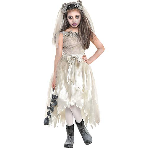 Zombie Bride Dress Halloween Costume for Girls, Extra Large, with Included Accessories, by Amscan]()
