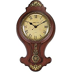 Decoz Pendulum Wall Clock with Antique Heirloom Style - Vintage and Elegant Home Decoration - Battery Operated, 27 Tall Wall Décor with Character