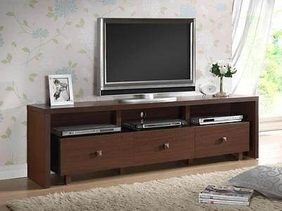 "70"" Modern Entertainment Center TV Stand with 3 Storage Cabinets and 3 Shelves in Light Chocolate Color"