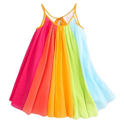 (Baby Girls Summer Spaghetti Strap Beach Rainbow Dress Toddler Kids Sleeveless A-Line Chiffon Tutu Dress (Multicolor, 2/3T))
