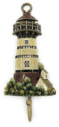 Kubla Crafts Enameled Pewter Lighthouse Wall Hook, Accented Austrian Crystals, 6 Inches Tall
