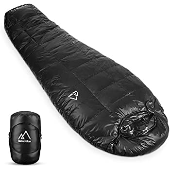 Terra Hiker Down Sleeping Bag, Outdoor Mummy Bag for Backpacking and Mountaineering with Ultra-Light Duck Down Filling, Max User Height 63